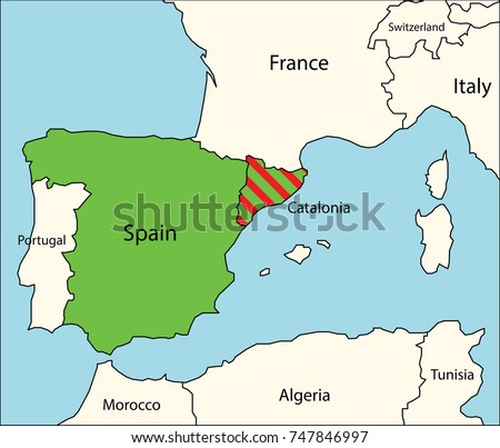 Map Of Spain Showing Catalonia.Political Map Spain Catalonia Region Stock Vector Royalty Free
