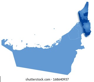 Political map of United Arab Emirates with all Emirates where Ras al -Khaimah is pulled out