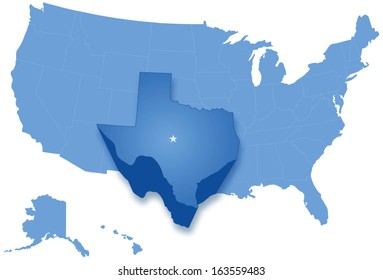 United States Map with Texas Highlighted Stock Illustrations ...