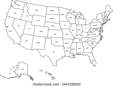 Political map of United States od America, USA. Simple flat black outline vector map with black state name labels on white background.