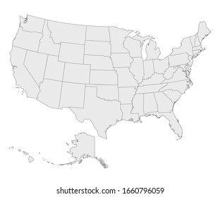 Political map of United States od America, USA. Vector illustration.