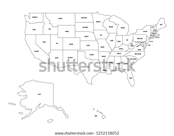 Political Map United States Od America Stock Vector (Royalty ...