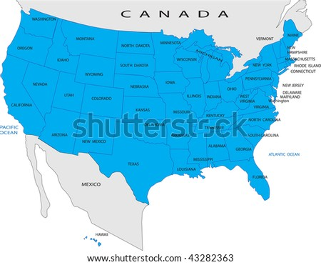 Political Map USA Stock Vector (Royalty Free) 43282363 - Shutterstock