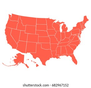 Political map of USA, United States of America, in red color on white background. Vector illustration.