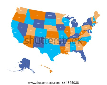 Political Map Usa United States America Stock Vector Royalty Free