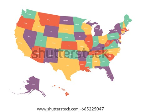 Political Map USA United States America Stock Vector (Royalty Free ...
