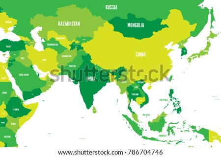 Map Of Southern And Eastern Asia.Political Map Western Southern Eastern Asia Stock Vector Royalty