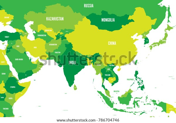 Political Map Western Southern Eastern Asia | Education ...