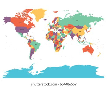 World map with country names images stock photos vectors political map of world with antarctica countries in four different colors without borders on white gumiabroncs Choice Image