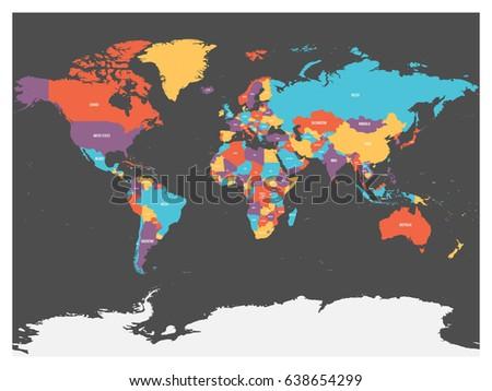 Political Map World Antarctica Countries Four Stock-Vrgrafik ... on
