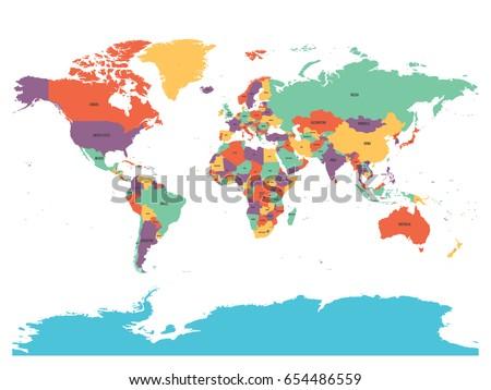 Political Map World Antarctica Countries Four Stock Vector (Royalty ...