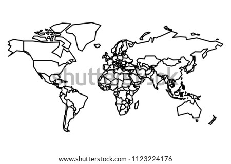 Political Map World Blank Map School Stock Vector (Royalty Free ...