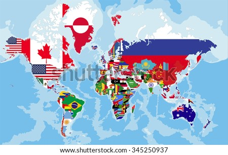 Map Of World Flags.Political Map World Country Flags Stock Vector Royalty Free