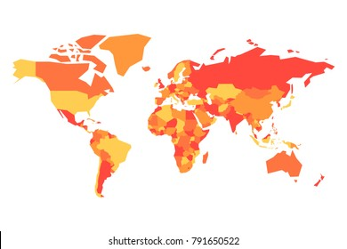 Political map of World. Simplified vector map in four shades of orange.