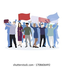 Political march supporting their candidate. Demonstration and rally, character social male and woman with flag and call, picket activist protest, demonstrate banner and motto. Vector illustration