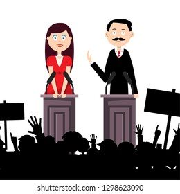 Political Meeting with People. Man and Woman Speaking to Audience. Vector Illustration.