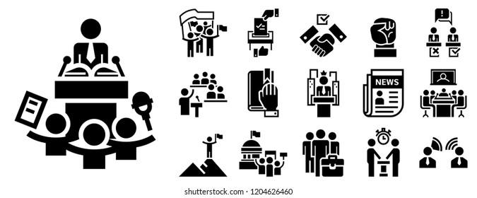 Political meeting summit icon set. Simple set of political meeting summit vector icon for web design on white background