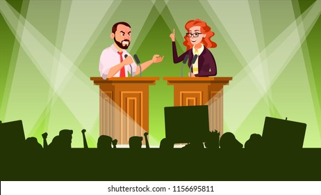 Political Meeting Vector. Debates Concept. Leading Presentation. Tribune. Candidate Speech. People Crowd With Support Banners. Flat Cartoon Illustration