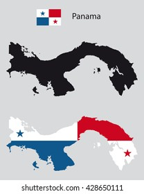 political panama country map silhouette, one with black background, one with panama flag