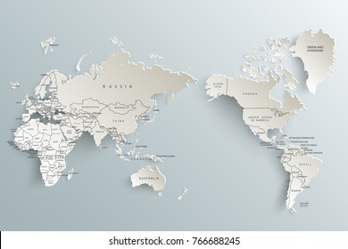 Political paper map of the world on a gray background.