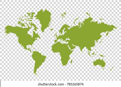 Political paper map of the world on a transparent background for designers and illustrators.