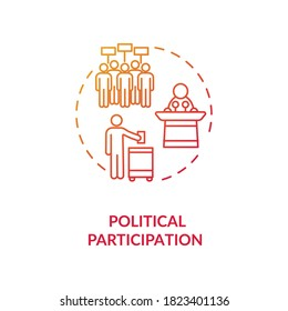 Political participation concept icon. Political involvement idea thin line illustration. Activists. Peaceful protests. Human rights. Civics. Vector isolated outline RGB color drawing