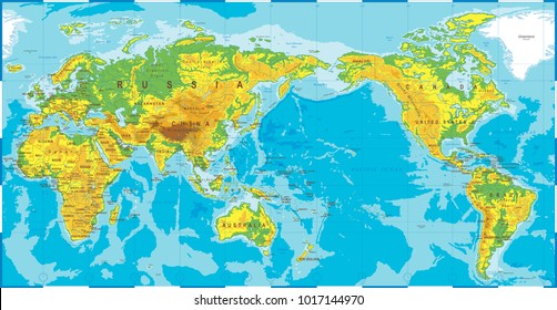Physical map asia vector de stock475286449 shutterstock political physical topographic colored world map pacific centered vector gumiabroncs Image collections