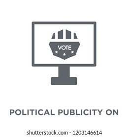 Political publicity on monitor screen icon. Political publicity on monitor screen design concept from Political collection. Simple element vector illustration on white background.