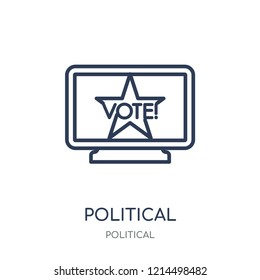 Political publicity on monitor screen icon. Political publicity on monitor screen linear symbol design from Political collection. Simple outline element vector illustration on white background.