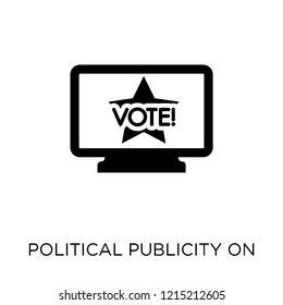Political publicity on monitor screen icon. Political publicity on monitor screen symbol design from Political collection. Simple element vector illustration on white background.