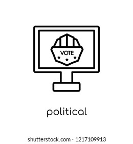 political publicity on monitor screen icon. Trendy modern flat linear vector political publicity on monitor screen icon on white background from thin line Political collection,