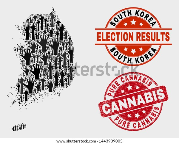 Political South Korea Map Seal Stamps Stock Vector Royalty Free 1443909005