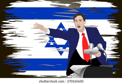 Political speech speaker. Orator speaks with a vigorous at the podium with a microphone. Flag of Israel in the background. Yom Ha'atzmaut.  Image. Vector. Icon.