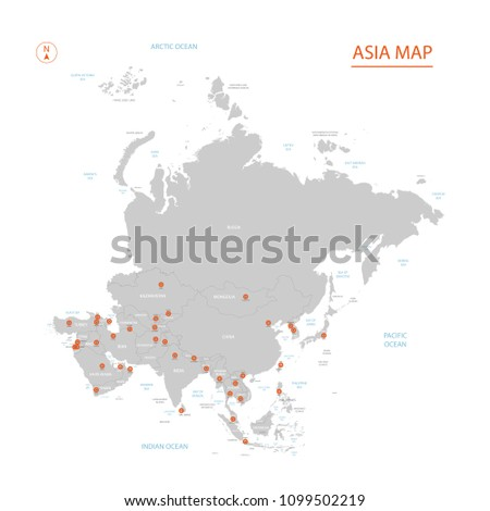 Political Vector Asia Map On White Stock Vector (Royalty Free