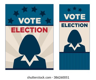 Political vector brochure or sign background template. Stars, stripes and woman silhouette layout template