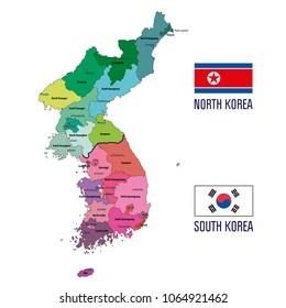 Political vector map of Korea. South Korea and North Korea