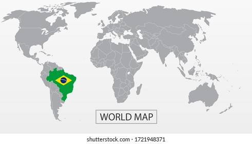 Political Vector Map of the world with clear borders with highlighted Brazil with national flag. Each country is isolated and selectable. Suitable for reports, statistics, infographics, templates.