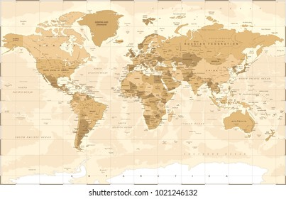 Political Vintage Golden World Map Vector illustration