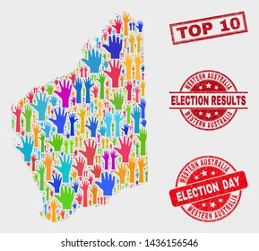 Political Western Australia map and seal stamps. Red rectangle Top 10 distress seal. Colorful Western Australia map mosaic of upwards election arms. Vector collage for election day,