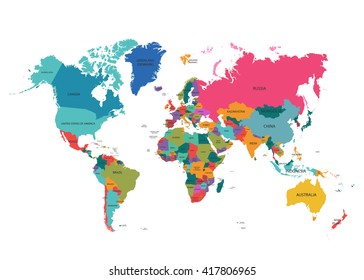 Flat designs world map country name vectores en stock 635725376 political world map gumiabroncs Images