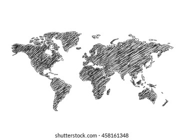 Black white drawing sketch world map vectores en stock 662423836 political world map gumiabroncs Choice Image