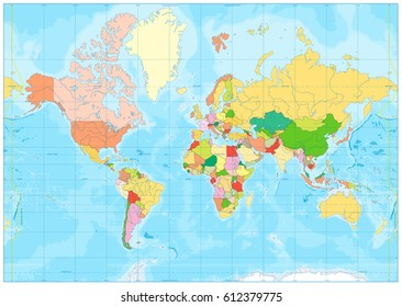 Political World map and bathymetry. No text. Vector illustration.