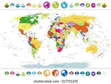 World map with country names stock images royalty free images political world map with flat icons and globeshighly detailed political world map with flat gumiabroncs Images