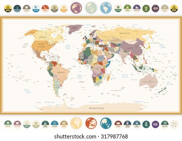 Political World Map with flat icons and globes.Vintage colors.All elements are separated in editable layers clearly labeled.