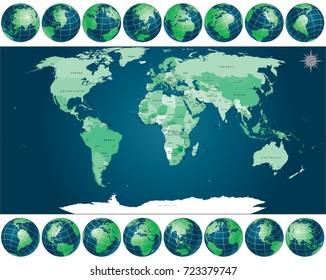 Political World Map with Globes. include all Names of Countries with Capital City and National borders. Individual drawn objects, simply colors