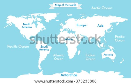 Flat World Map Vector.Political World Map Illustration Blue World Stock Vector Royalty