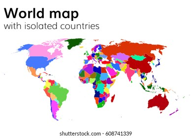 World map continents infographic vector vector de stock284811182 political world map with isolated countries and continents multi colored map gumiabroncs Image collections