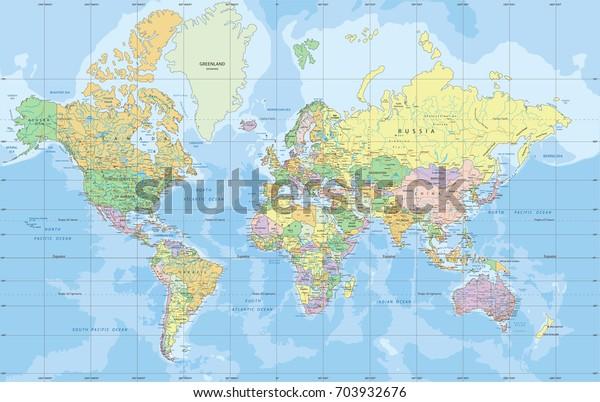 Politische Weltkarte In Mercator Projektion Stock Vektorgrafik