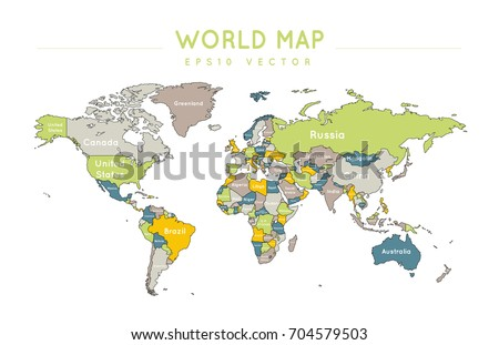 Political World Map Name Borders Countries Stock Vector Royalty