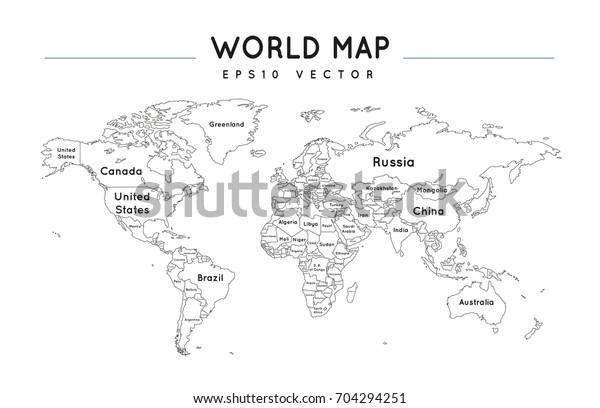 Vector de stock (libre de regalías) sobre Political World Map Name